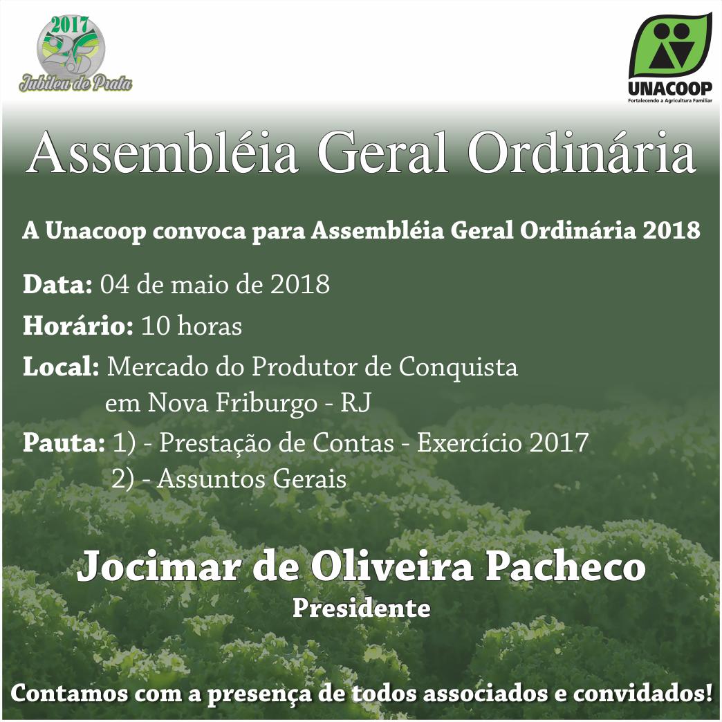 Convite Assembleia Geral Ordinária 2018