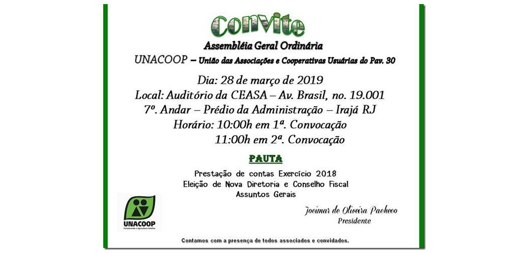 Convite Assembleia Geral 2019